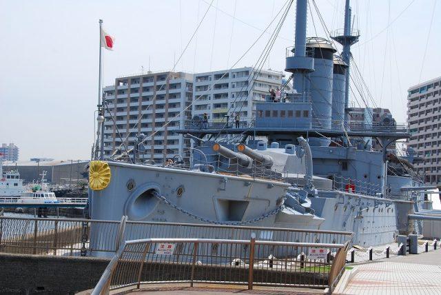 明治38年、日露戦争時の日本海海戦で活躍した戦艦「三笠」。